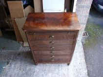 Mahogany chest before restoration by DJ Bulpitt